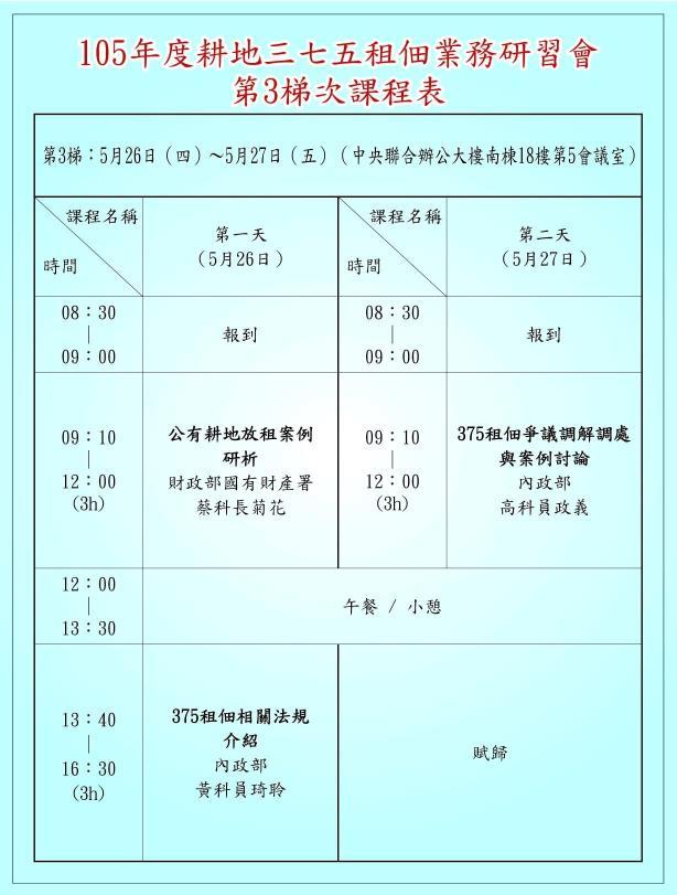 105年耕地三七五租佃業務研習會臺北場