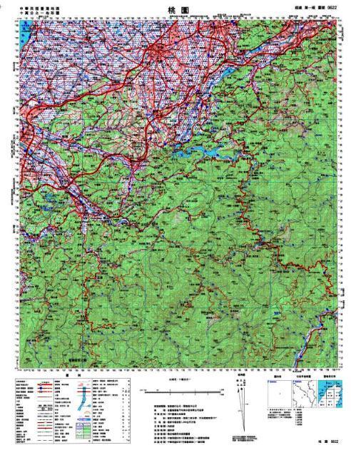 十萬分之一地形圖  本圖為十萬分之一經建版地形圖,圖名為桃園,圖幅為9622,可提供經濟建設之運用。